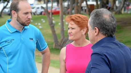Pauline Hanson in Yeppoon with Keppel candidate Matt Loth and Tower Holdings' Terry Agnew.