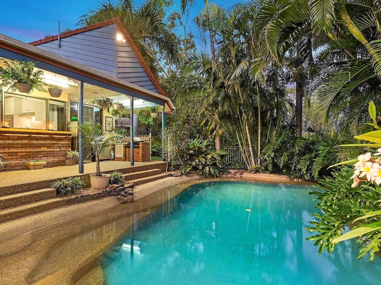 A perfect place to relax and unwind lays in the backyard of this spectacular home.