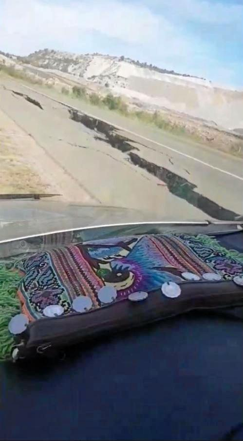 The first footage to emerge of the cracked Gibihi Rd, which was damaged during a blast at the Dawson Mine, Moura.