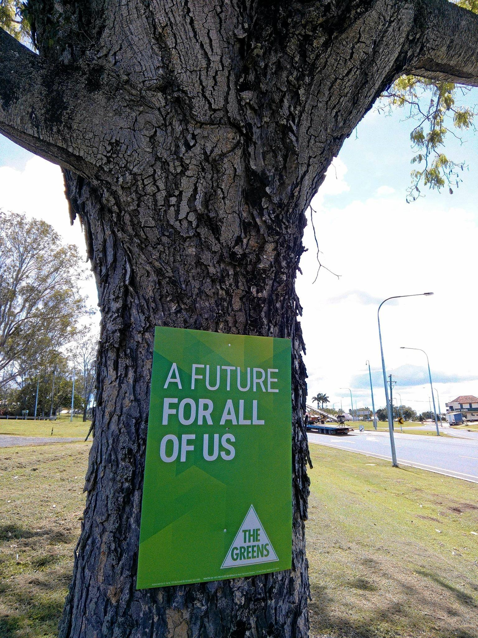 A Greens election sign was nailed to the tree.