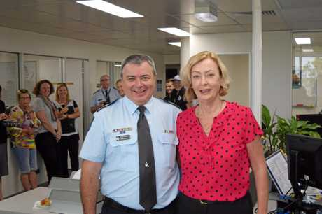 Central region intelligence operations leader Senior Sergeant Graeme Barnes celebrates his retirement with wife Detective Sergeant Tracey Barnes.