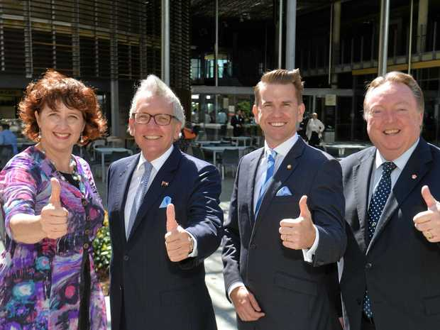MARK McArdle (second left) with fellow LNP Members of Parliament Fiona Simpson (Maroochbydore), Jarrod Bleijie (Kawana), and Glen Elmes (Noosa) at the opening of the Sunshine Coast University Hospital earlier this year.