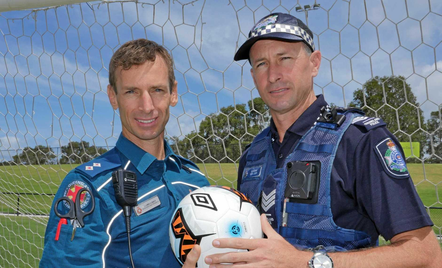 HEAD TO HEAD: Brothers, Damo (QAS paramedic) and Rick (QPS sergeant) will face off against each other in a charity soccer match to raise funds for a family in need.