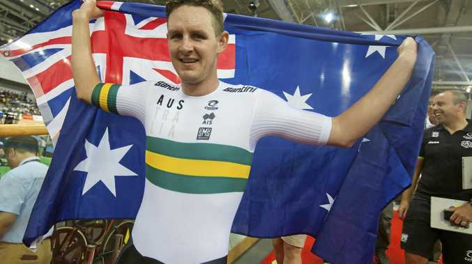 Australian cyclist Jordan Kerby celebrates winning gold in the Men's Individual Pursuit Race Final at the Union Cycliste Internationale (UCI) 2017 Track Cycling World Championships, Hong Kong, China, on April 14.