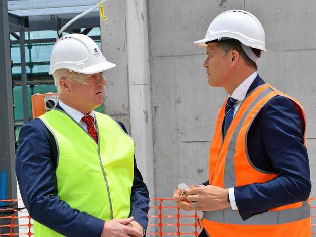 Sunshine Coast Mayor Mark Jamieson and Stockland general manager of residential in Queensland, Kingsley Andrew, speak at the Birtinya Retirement Village.