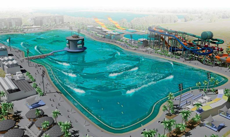 ON A ROLL: An artist's impression of the wave pool. Surf lakes utilises a mechanism located in the centre of the pool. This fires off a wave in a ring shape toward multiple waves located all around the pools edge, leading to the much higher wave count.