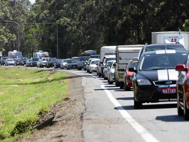 The highway is in gridlock after a crash in the northbound lanes at Sippy Downs.