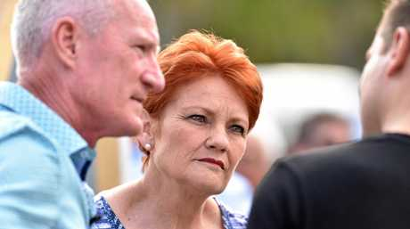 One Nation leader Pauline Hanson with state leader Steve Dickson will be hoping kickboxer Scott Bannan can land a knockout blow to win the seat from Labor.