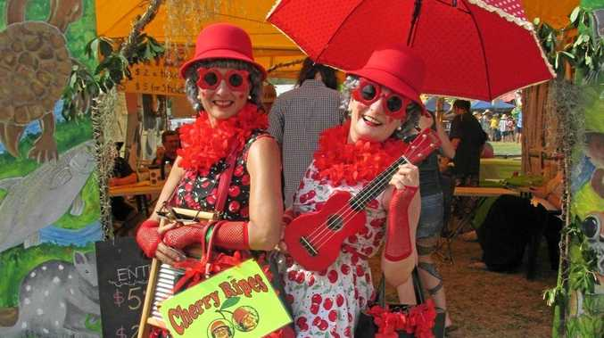FUN: The Cherry Ripes at the entrance to the Mary River Festival.