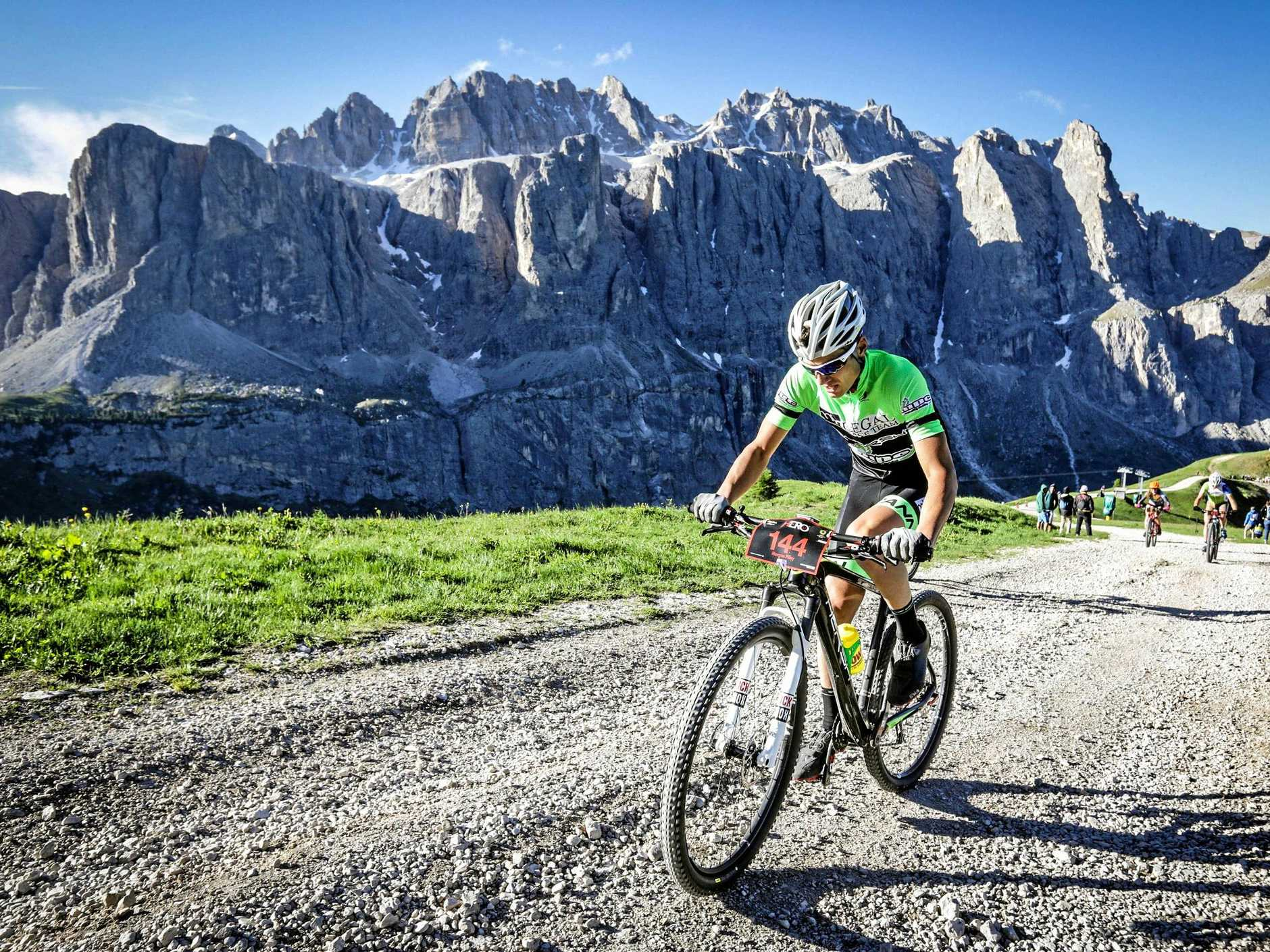 Morgan Pilley tackling one of the most gruelling mountain bike races in the world, the Sellaronda Hero through The Dolomites in Italy.