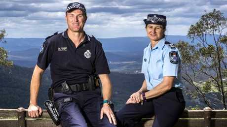 Cath Neilsen and Scott Hill who were with Senior Constable Brett Forte when he was shot dead near Toowoomba earlier this year. They have both been nominated for a Pride of Australia Award for their bravery. Picture: Nigell Hallett