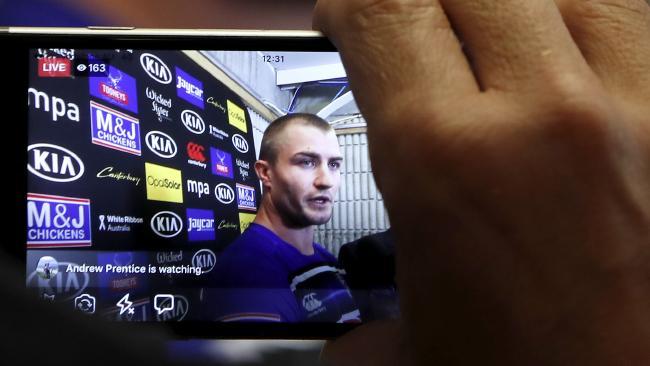 New Bulldogs recruit Kieran Foran is seen on a phone screen.