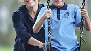 Jackie Trad and son Vinnie, 10, at Orleigh Park. Picture: Annette Dew