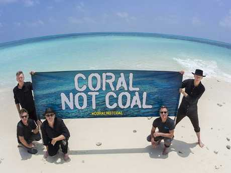 Midnight Oil lent their loud voice to conservation efforts to save the Great Barrier Reef on tour. Picture: Foxtel.