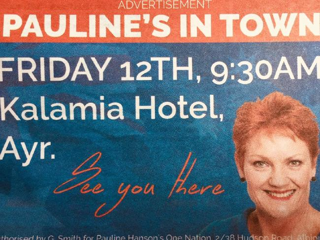 The ad for the event said 'See you there', but Pauline's invitation didn't include The Project. Picture: Twitter