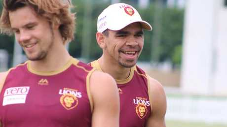 Charlie Cameron enjoys himself at training. Picture: @brisbanelions/Twitter