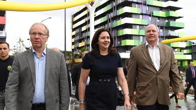 Goldoc Chairman Peter Beattie, Premier Annastacia Palaszczuk and Goldoc CEO Mark Peters at the public handover of the Parklands Development to the Gold Coast 2018 Commonwealth Games Corporation.