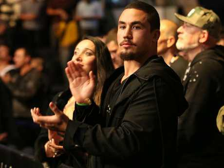 Robert Whittaker reacts to the UFC 217 win of George St-Pierre. Picture: Richard Dobson
