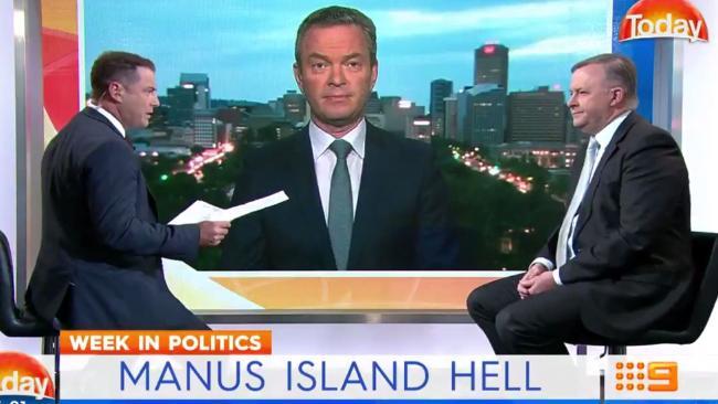 Karl Stefanovic, Christopher Pyne and Anthony Albanese speak about Manus Island.