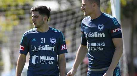 Victory welcome back Besart Berisha (right) and Christian Theoharous. Picture: George Salpigtidis