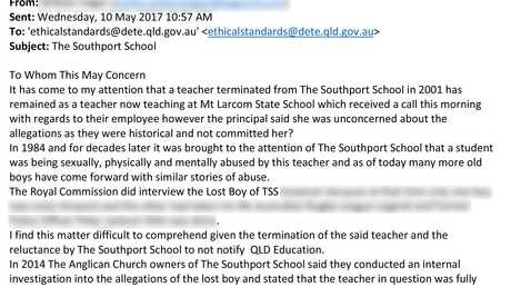 According to an email sent to the Department of Education, knowledge of the TSS teacher's child sex allegations came to light in May, 2017.