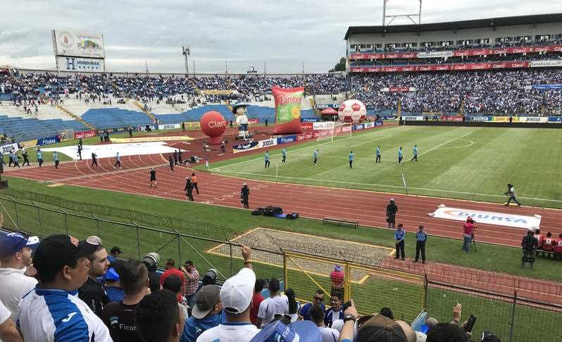 Hundreds of fans have descended into the Olympic Stadium in the city of San Pedro Sula, Honduras.