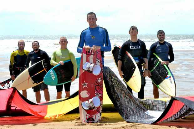 Liam Fulcher (front), with Lonnie Neal, Tim Ey, Nick Johnson, Kurt Raymond and Jethro Cohen kite surfing at Harbour Beach before Mr Fulcher's wedding on Saturday, November 11.