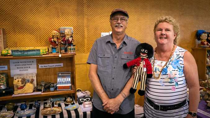 Keith and Louise Aggett at their antiques stall at the Gympie Showgrounds.