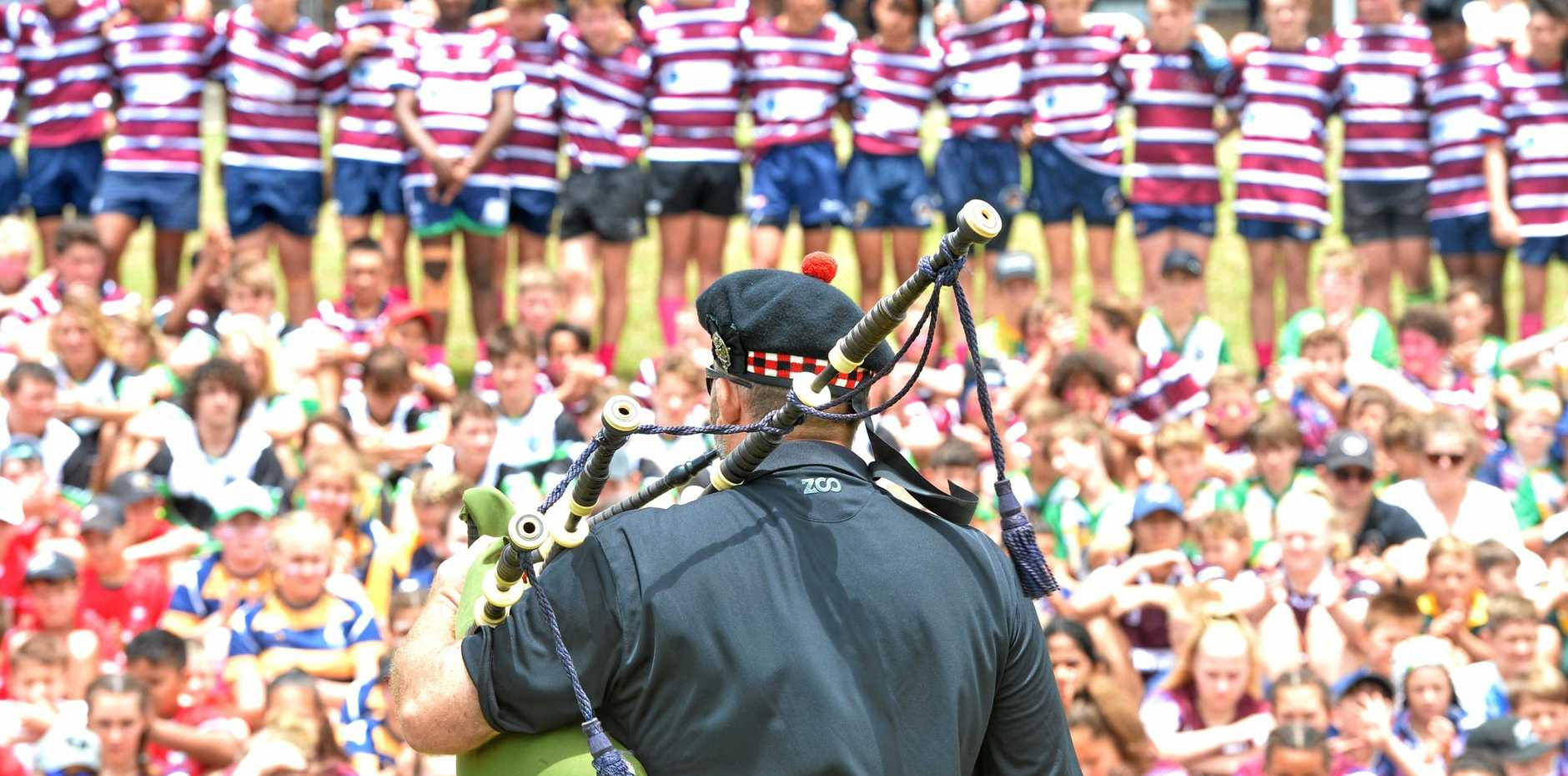 A bagpiper plays following a minute silence at the Nyrie Contor Cup at Quarry Hill Rugby Union Ground on Saturday, November 11, 2017.