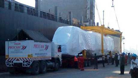 The latest of the New Generation Rollingstock trains bound for Brisbane being shipped from Mumbai. Picture: Mumbai Port Trust