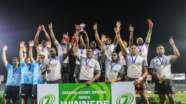 Fiji celebrate the men's title. Photo: Oceania Rugby