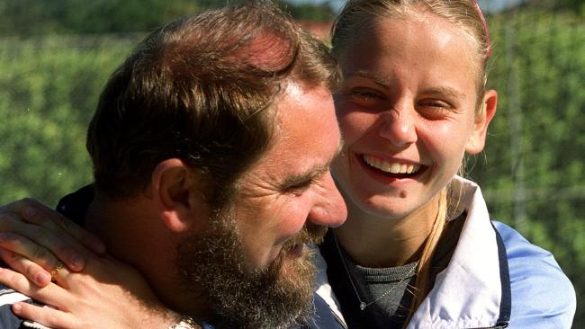 Jelena Dokic with her father Damir at White City in Sydney in 2000 where smiles masked the pain of reality.