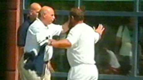 Video footage of Damir Dokic being evicted from the US Open in August 2000. Picture: Channel 9