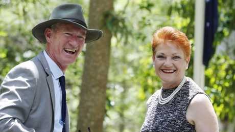 One Nation State Leader Steve Dickson with Pauline Hanson at a Remembrance Day Service at the EJ Foote Memorial Gardens in Buderim. Picture: Lachie Millard
