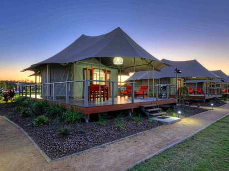 Rivershore Resort at Diddillibah is rated the best of the BIG4 holiday parks in Australia. Pictured are the resort's safari tents.