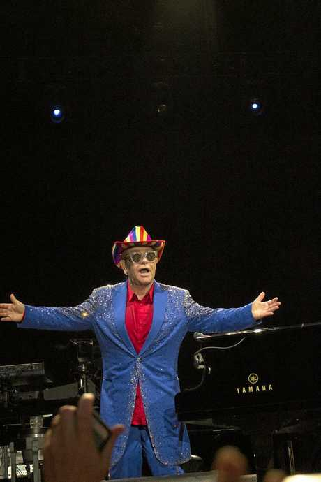 The crowd went crazy when Elton John walked to the front of the stage when he performed in Mackay.