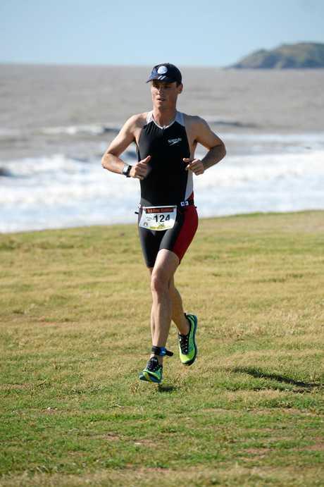 FULL STRIDE: Scott Kean won the male sprint triathlon at Emu Park yesterday.