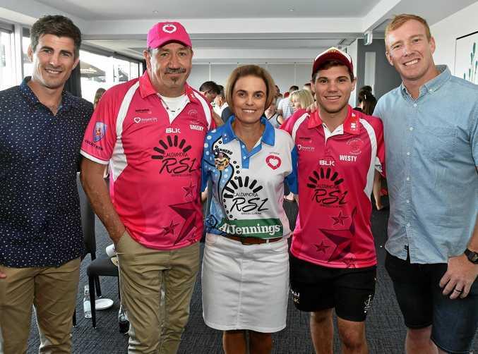 BIG WEEKEND: Nathan Reardon, Kevin Green, Sonya Ackerman, Brendan West and Jack Reed at a meet and greet before the cricket game.
