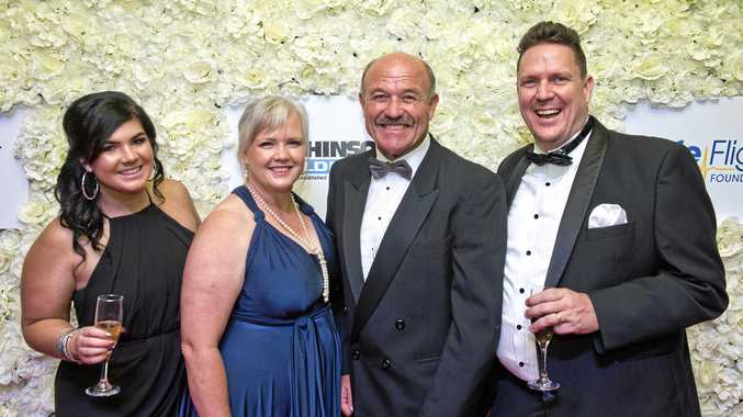 SPECIAL NIGHT: Enjoying the LifeFlight Ball are (frokm left) Loz Tuffield, Michaela Hannant, special guest Wally Lewis and Shane Whatman.