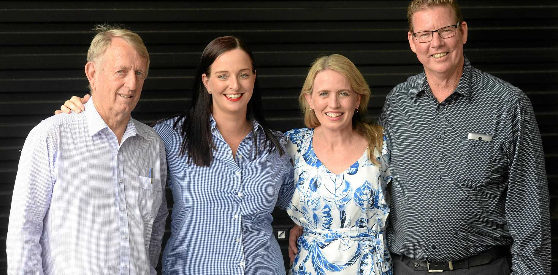 CQ LABOR LAUNCH: Mirani MP Jim Pearce, Keppel MP Brittany Lauga, Education Minister Kate Jones and Rockhampton candidate Barry O'Rourke are all smiles ahead of the Queensland election on November 25. They joined in the fun at the Red Lion Hotel yesterday for the CQ launch.