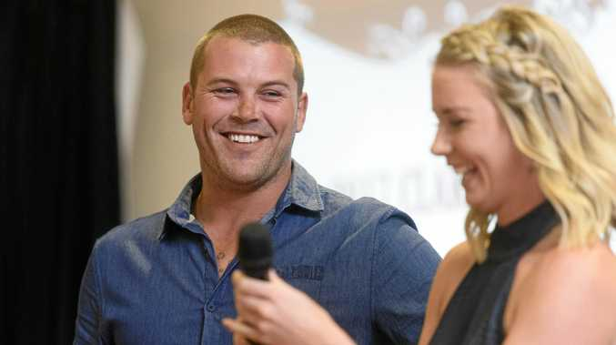 ALL SMILES: Danny Wicks laughs as he is interviewed by sports awards emcee Katie Brown.