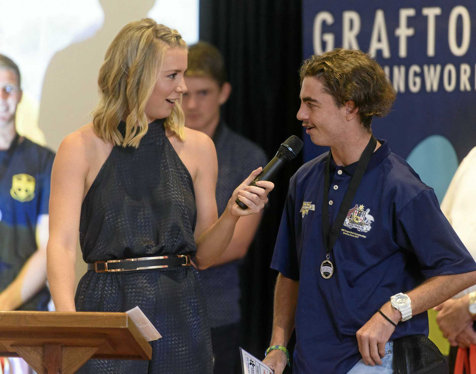 Travis Gardner-O'Connor speaks after being nominated for junior sportsperson of the year at the 2017 Clarence Valley Sports Awards