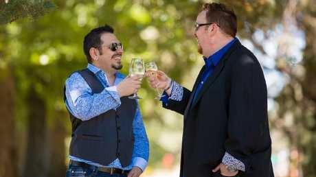 Vic Brincat and Luke Steward toast their union on the day of their wedding in Canberra in 2013. Four days later, the High Court ruled the 31 same-sex marriages which had taken place in the Australian capital city void. Picture: Supplied
