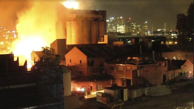 The inferno near Melbourne's Nylex Grain Silo site. Picture: Kiah Doodie