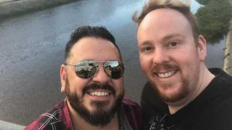 Seventeen years on, and going strong: Vic and Luke will do the legal stuff if same-sex marriage become legal, but won't do another big wedding. They've been there. Picture: Supplied