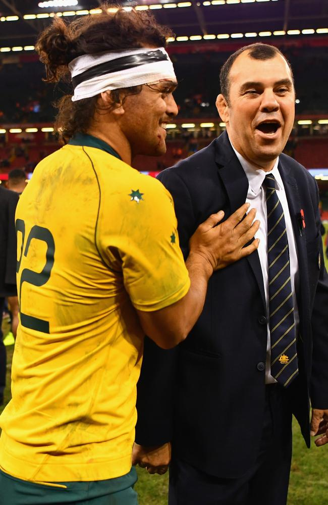 Karmichael Hunt and Michael Cheika were in a jovial mood after the win over Wales.