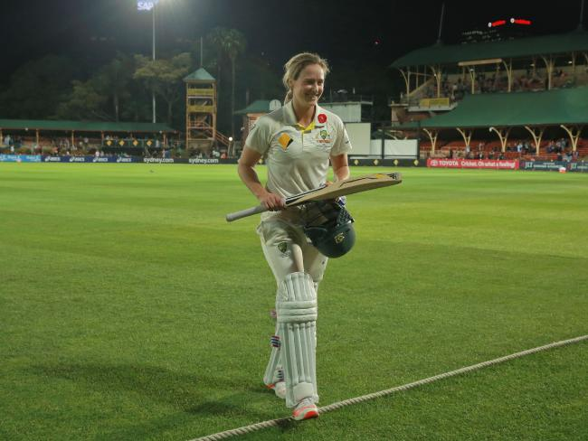 Ellyse Perry of Australia walks off after making 213 not out for Australia.