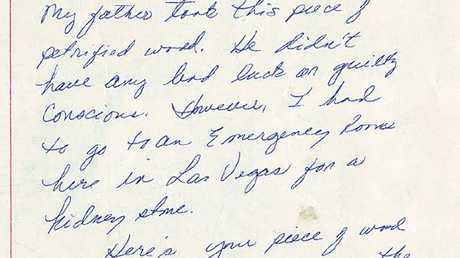This letter, sent anonymously, was written in 1985. Picture: Petrified Forest National Park archives