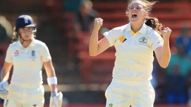 Tahlia McGrath celebrates the wicket of Lauren Winfield. Pic Mark Evans