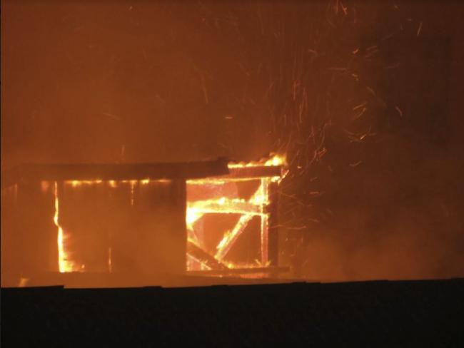 The fire spread near the Nylex Grain Silo site overnight. Picture: Kiah Doodie